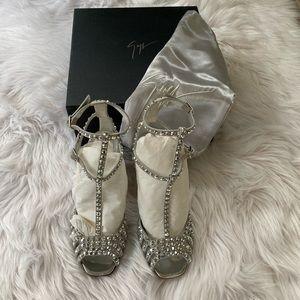 Giuseppe Zanotti silver crystal sandals